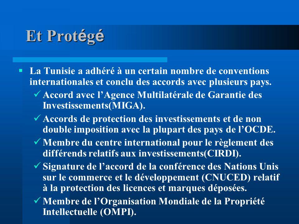 Et Prot é g é La Tunisie a adhéré à un certain nombre de conventions internationales et conclu des accords avec plusieurs pays.