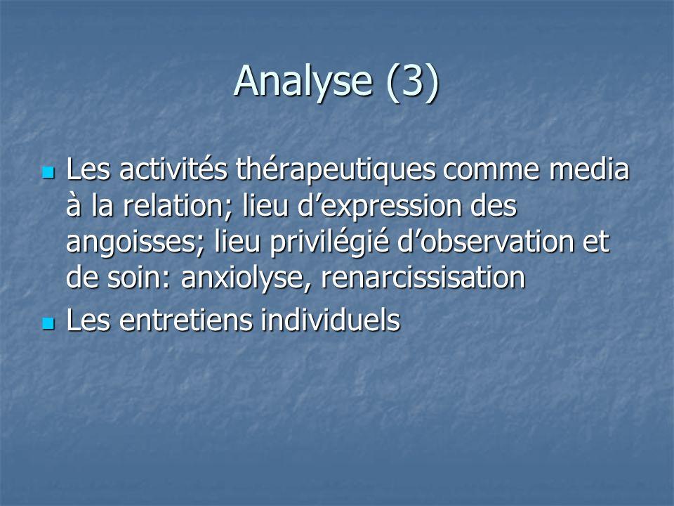 Analyse (3) Les activités thérapeutiques comme media à la relation; lieu dexpression des angoisses; lieu privilégié dobservation et de soin: anxiolyse
