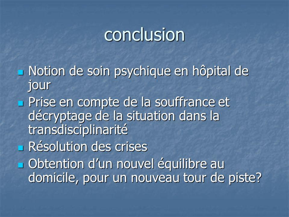 conclusion Notion de soin psychique en hôpital de jour Notion de soin psychique en hôpital de jour Prise en compte de la souffrance et décryptage de l