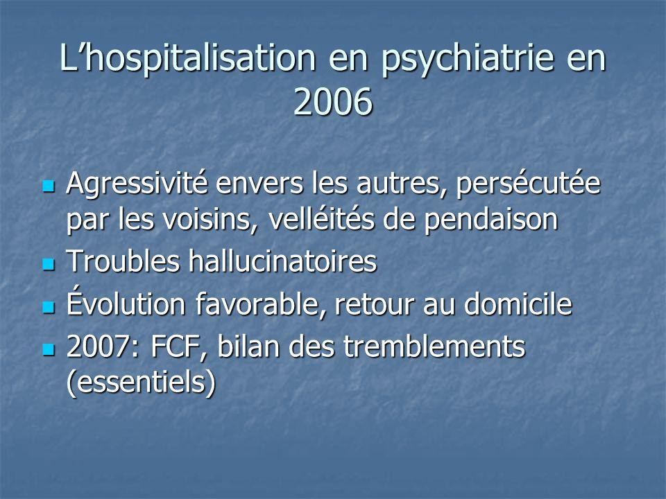 Lhospitalisation en psychiatrie en 2006 Agressivité envers les autres, persécutée par les voisins, velléités de pendaison Agressivité envers les autre