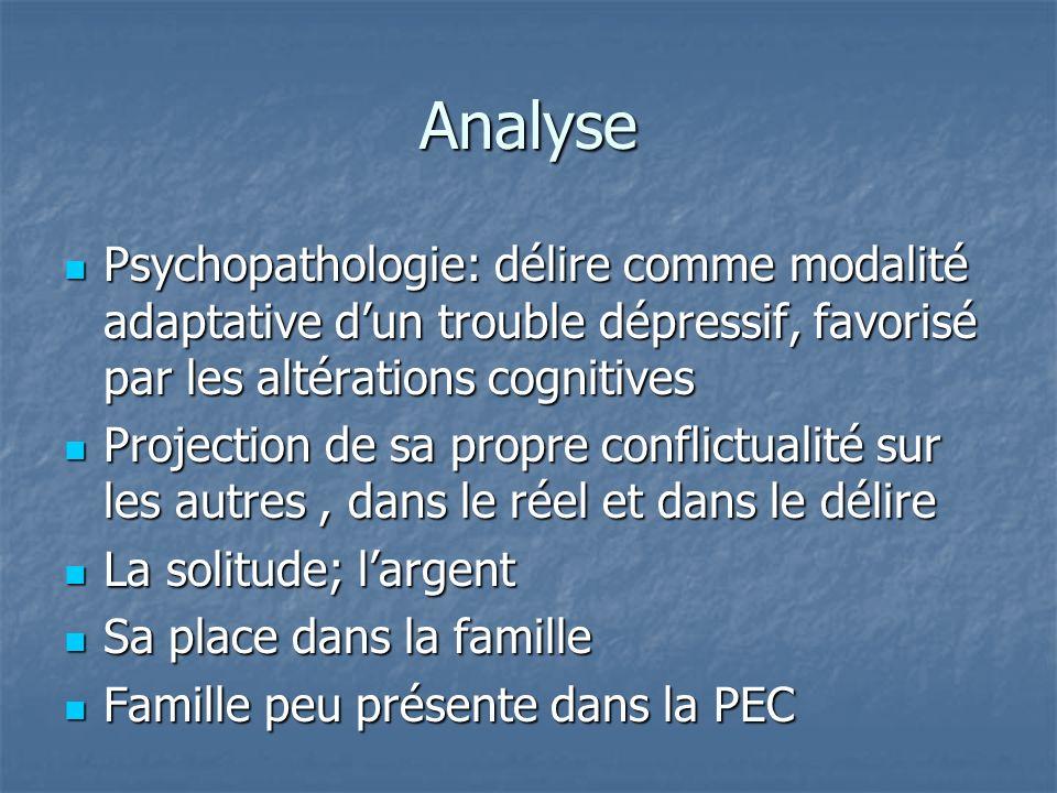 Analyse Psychopathologie: délire comme modalité adaptative dun trouble dépressif, favorisé par les altérations cognitives Psychopathologie: délire com