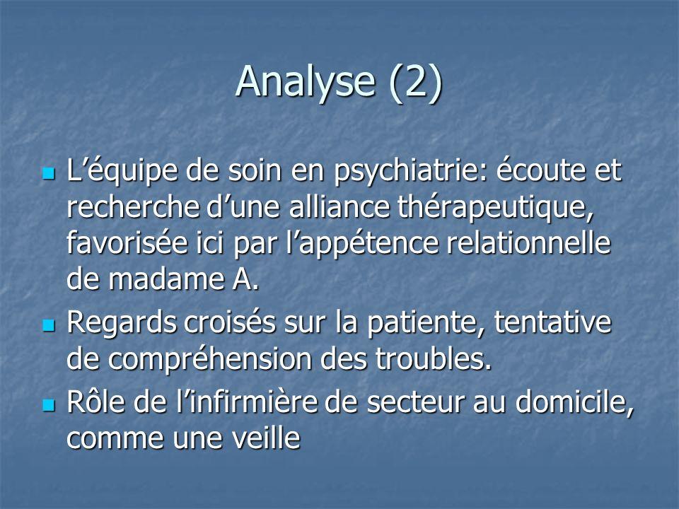 Analyse (2) Léquipe de soin en psychiatrie: écoute et recherche dune alliance thérapeutique, favorisée ici par lappétence relationnelle de madame A. L