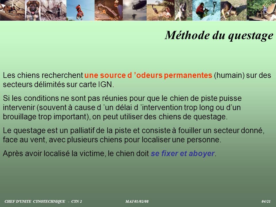 Méthode du questage Les chiens recherchent une source d odeurs permanentes (humain) sur des secteurs délimités sur carte IGN. Si les conditions ne son
