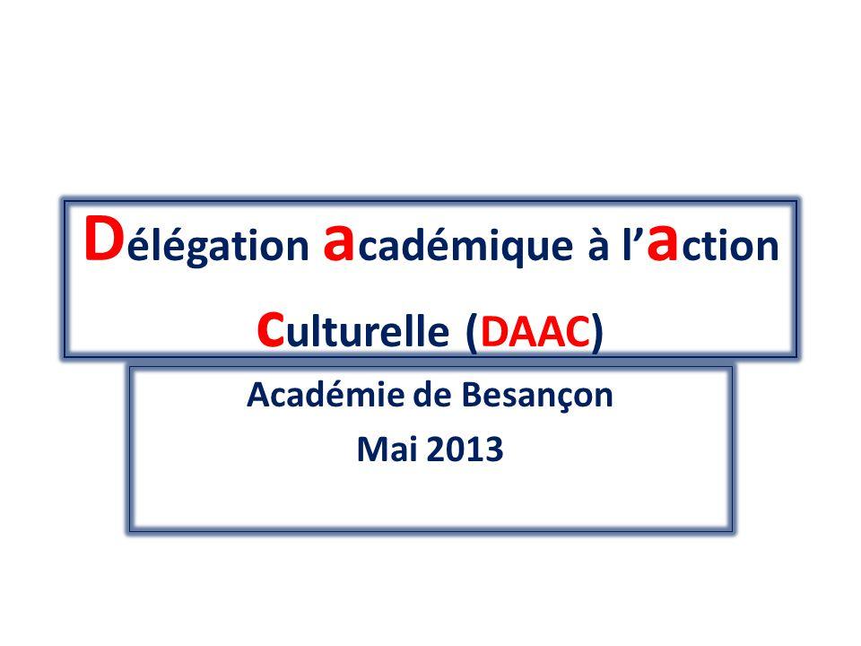 Présentation de la Délégation académique à laction culturelle (DAAC) - Monsieur Jean-Marie CANIARD Délégué académique à léducation artistique et à laction culturelle - Madame Stéphanie BARBIER Coordonnatrice académique stephanie.barbier@ac-besancon.fr - Madame Laurence CONRY Secrétaire ce.ac@ac-besancon.fr Présence au bureau DAAC : Les lundis et les jeudis de 8h à 17h 03/81/65/74/04 59 professeurs missionnés par la DAAC : 36 professeurs chargés de mission sur site 20 professeurs chargés de domaine 3 professeurs chargés du site internet de la DAAC Cf organigramme Organigramme DAAC 2012-2013.doc
