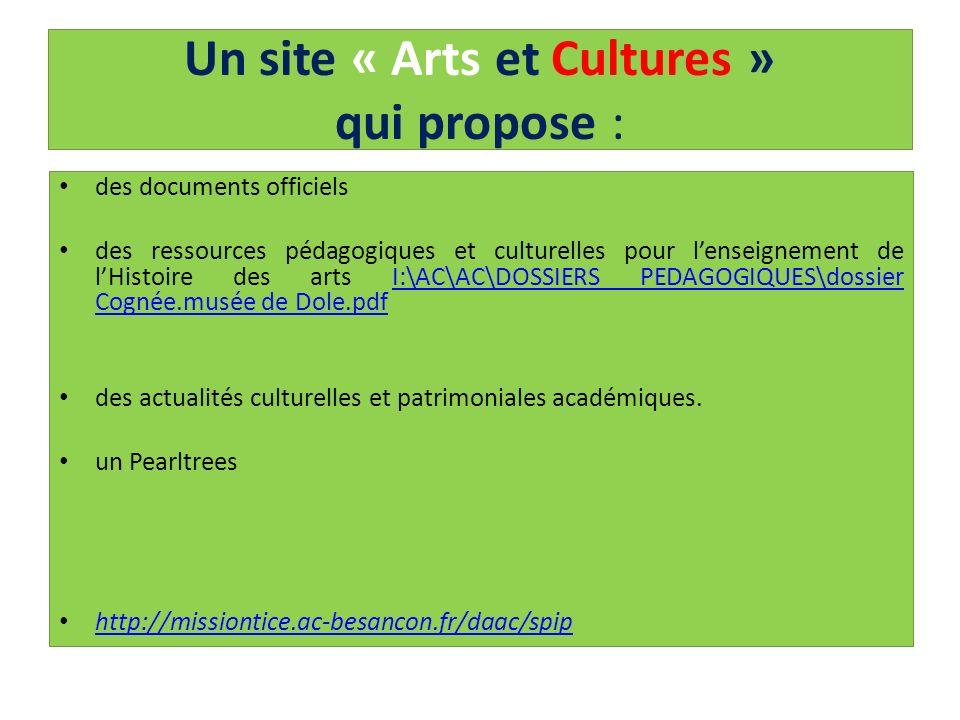 Un site « Arts et Cultures » qui propose : des documents officiels des ressources pédagogiques et culturelles pour lenseignement de lHistoire des arts
