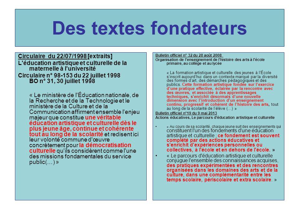 Des textes fondateurs Circulaire du 22/07/1998 [extraits] L'éducation artistique et culturelle de la maternelle à l'université Circulaire n° 98-153 du