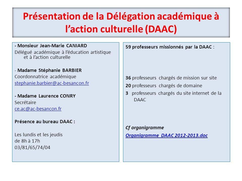 Présentation de la Délégation académique à laction culturelle (DAAC) - Monsieur Jean-Marie CANIARD Délégué académique à léducation artistique et à lac