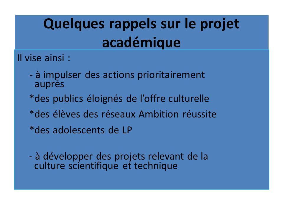 Quelques rappels sur le projet académique Il vise ainsi : - à impulser des actions prioritairement auprès *des publics éloignés de loffre culturelle *
