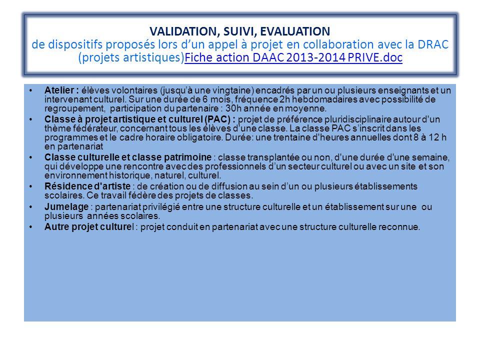 VALIDATION, SUIVI, EVALUATION de dispositifs proposés lors dun appel à projet en collaboration avec la DRAC (projets artistiques)Fiche action DAAC 201