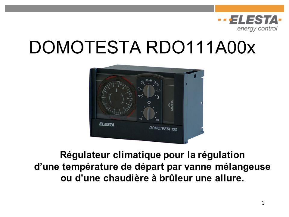 1 DOMOTESTA RDO111A00x Régulateur climatique pour la régulation dune température de départ par vanne mélangeuse ou dune chaudière à brûleur une allure