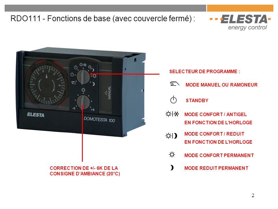2 RDO111 - Fonctions de base (avec couvercle fermé) : CORRECTION DE +/- 6K DE LA CONSIGNE DAMBIANCE (20°C) SELECTEUR DE PROGRAMME : MODE REDUIT PERMAN