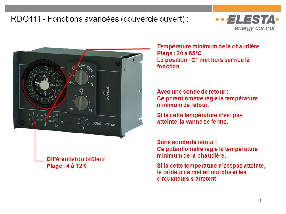 4 RDO111 - Fonctions avancées (couvercle ouvert) : Différentiel du brûleur Plage : 4 à 12K Température minimum de la chaudière Plage : 20 à 65°C La po