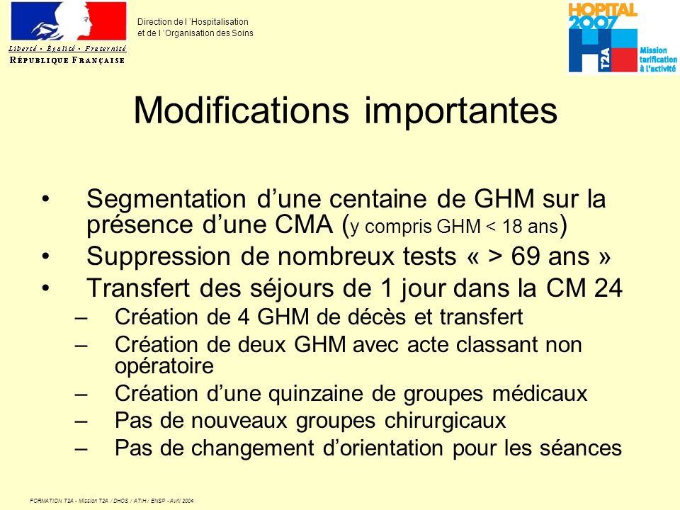 FORMATION T2A - Mission T2A / DHOS / ATIH / ENSP - Avril 2004 Direction de l Hospitalisation et de l Organisation des Soins Modifications importantes