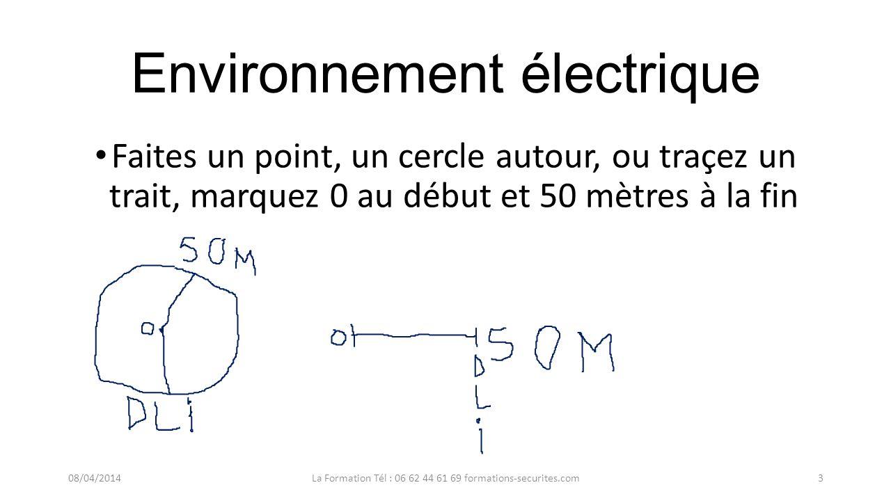 Environnement électrique Faites un point, un cercle autour, ou traçez un trait, marquez 0 au début et 50 mètres à la fin 08/04/2014La Formation Tél : 06 62 44 61 69 formations-securites.com3