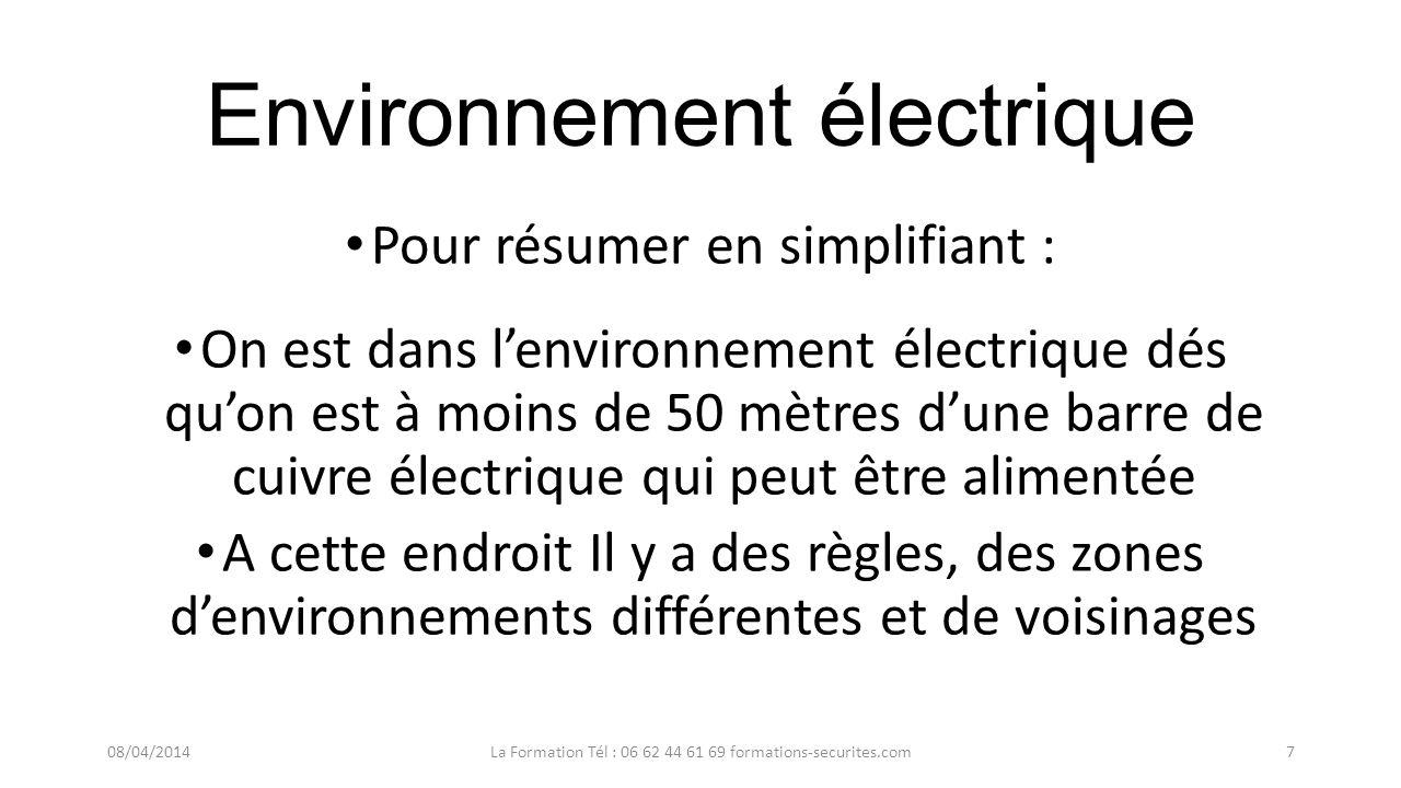 Environnement électrique Pour résumer en simplifiant : Lenvironnement électrique est situé autour de 50 mètres dune pièce nue conductrice alimentée po