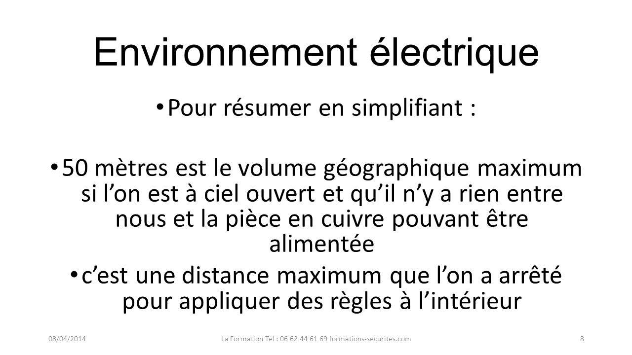 Environnement électrique Pour résumer en simplifiant : On est dans lenvironnement électrique dés quon est à moins de 50 mètres dune barre de cuivre él
