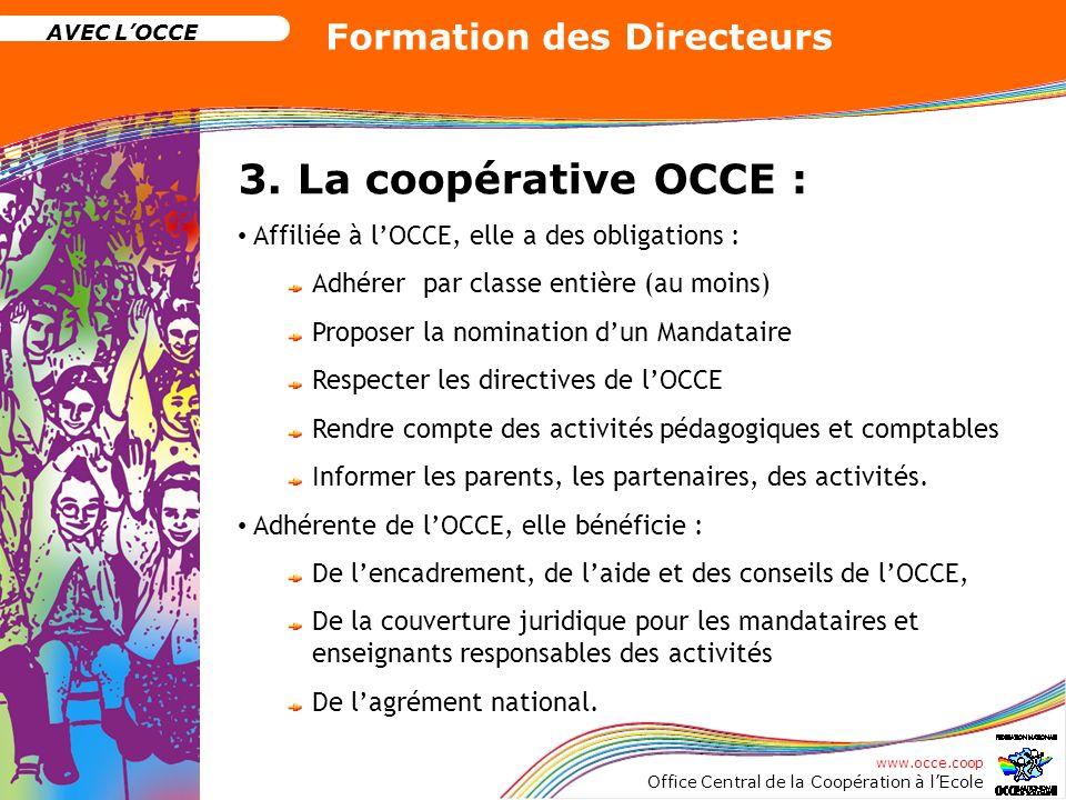 www.occe.coop Office Central de la Coopération à lEcole AVEC LOCCE Formation des Directeurs 3. La coopérative OCCE : Affiliée à lOCCE, elle a des obli