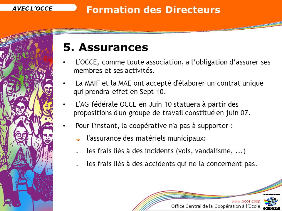 www.occe.coop Office Central de la Coopération à lEcole AVEC LOCCE Formation des Directeurs 5. Assurances L'OCCE, comme toute association, a lobligati