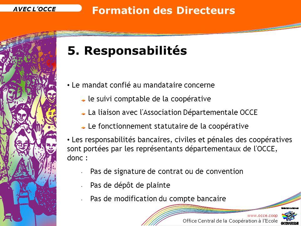 www.occe.coop Office Central de la Coopération à lEcole AVEC LOCCE Formation des Directeurs 5. Responsabilités Le mandat confié au mandataire concerne