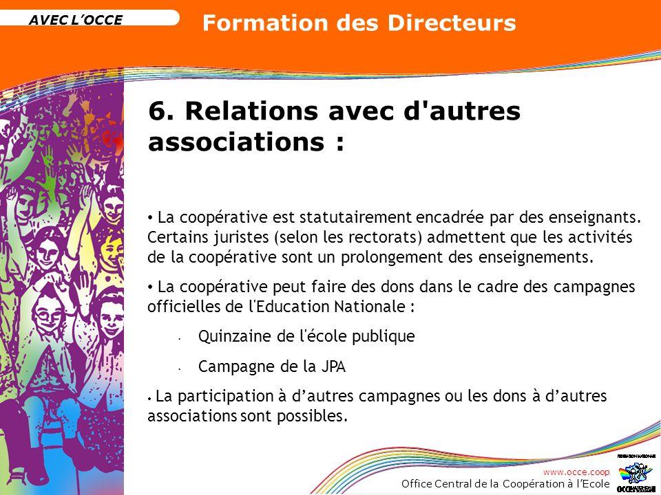 www.occe.coop Office Central de la Coopération à lEcole AVEC LOCCE Formation des Directeurs 6. Relations avec d'autres associations : La coopérative e