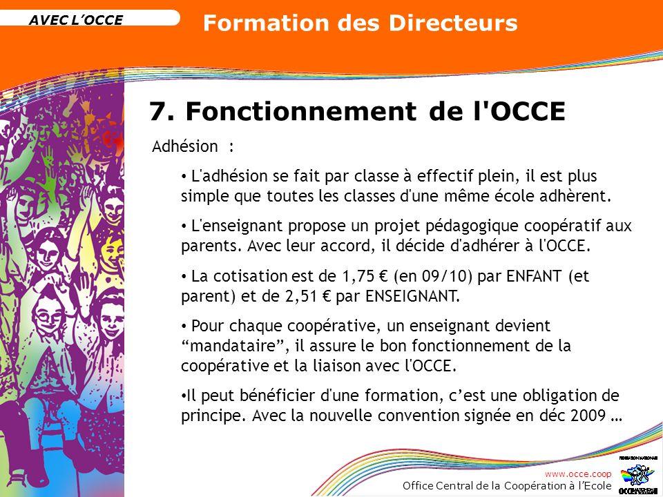 www.occe.coop Office Central de la Coopération à lEcole AVEC LOCCE Formation des Directeurs 7. Fonctionnement de l'OCCE Adhésion : L'adhésion se fait