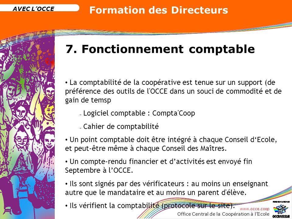 www.occe.coop Office Central de la Coopération à lEcole AVEC LOCCE Formation des Directeurs 7. Fonctionnement comptable La comptabilité de la coopérat