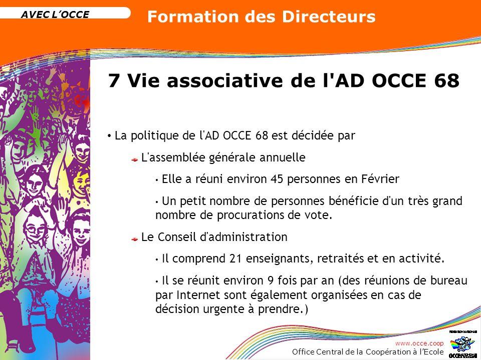 www.occe.coop Office Central de la Coopération à lEcole AVEC LOCCE Formation des Directeurs 7 Vie associative de l'AD OCCE 68 La politique de l'AD OCC
