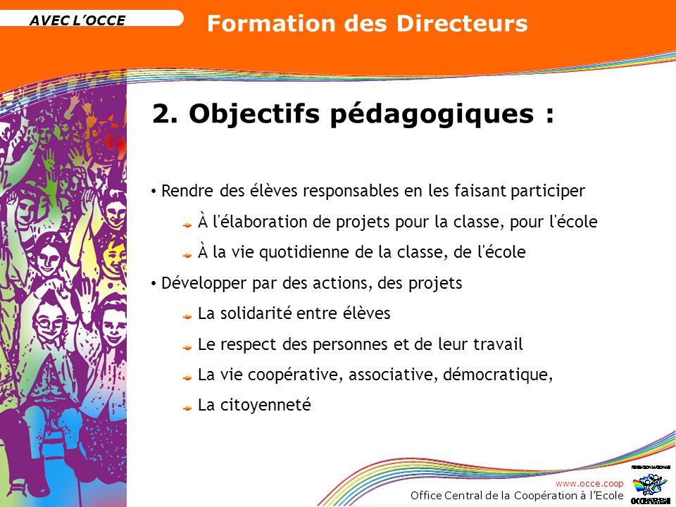 www.occe.coop Office Central de la Coopération à lEcole AVEC LOCCE Formation des Directeurs 2. Objectifs pédagogiques : Rendre des élèves responsables