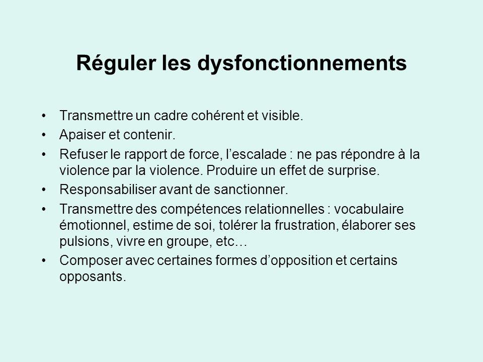 Réguler les dysfonctionnements Transmettre un cadre cohérent et visible. Apaiser et contenir. Refuser le rapport de force, lescalade : ne pas répondre