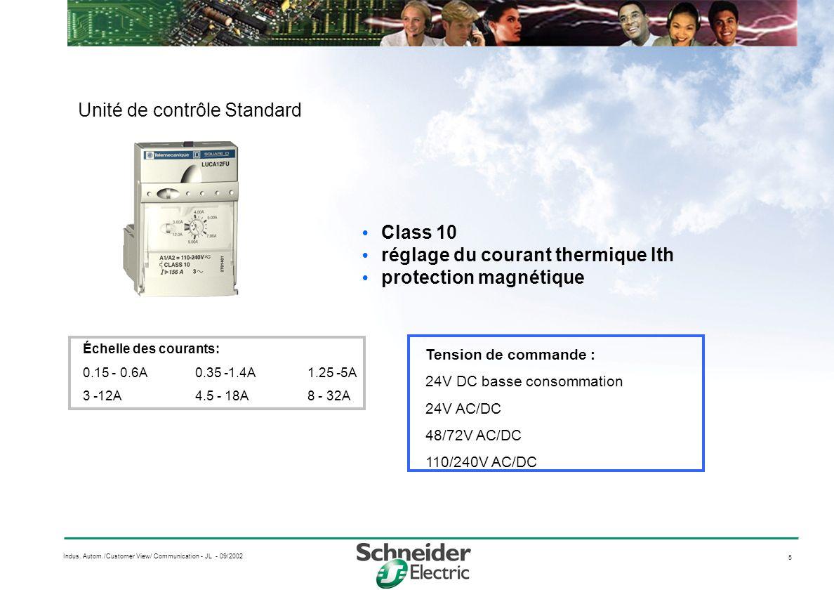 5 Indus. Autom./Customer View/ Communication - JL - 09/2002 Unité de contrôle Standard Class 10 réglage du courant thermique Ith protection magnétique