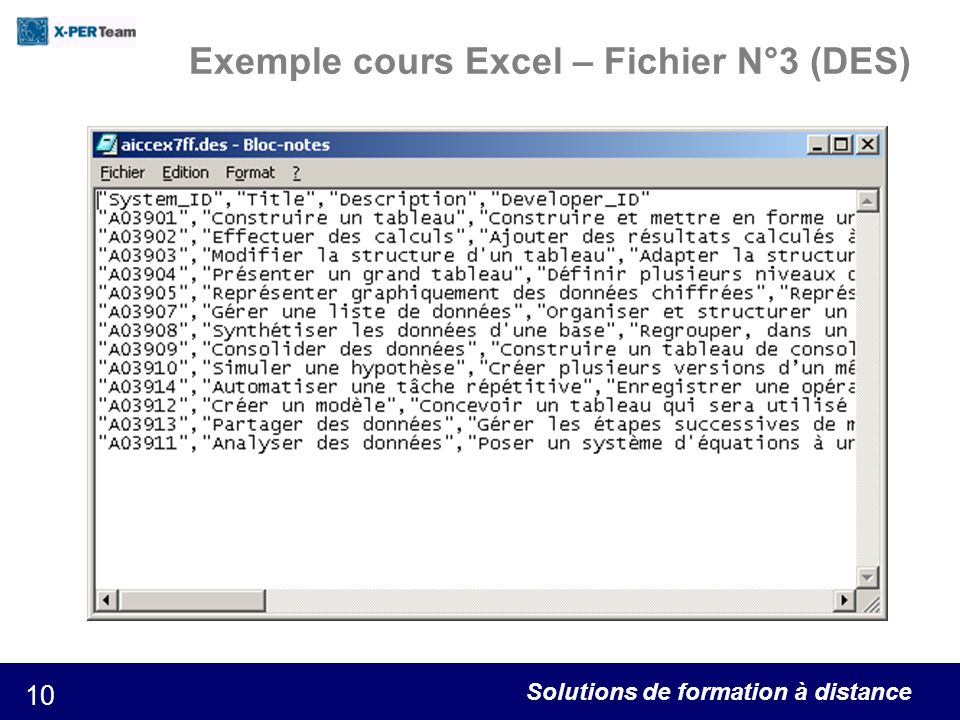 Solutions de formation à distance 10 Exemple cours Excel – Fichier N°3 (DES)