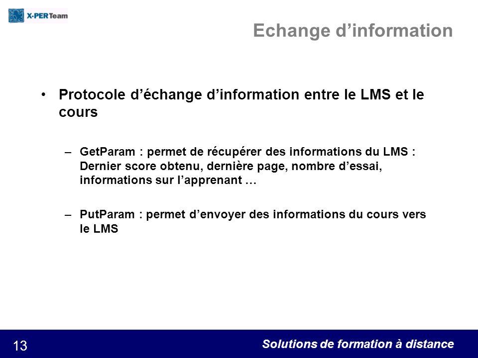 Solutions de formation à distance 13 Echange dinformation Protocole déchange dinformation entre le LMS et le cours –GetParam : permet de récupérer des