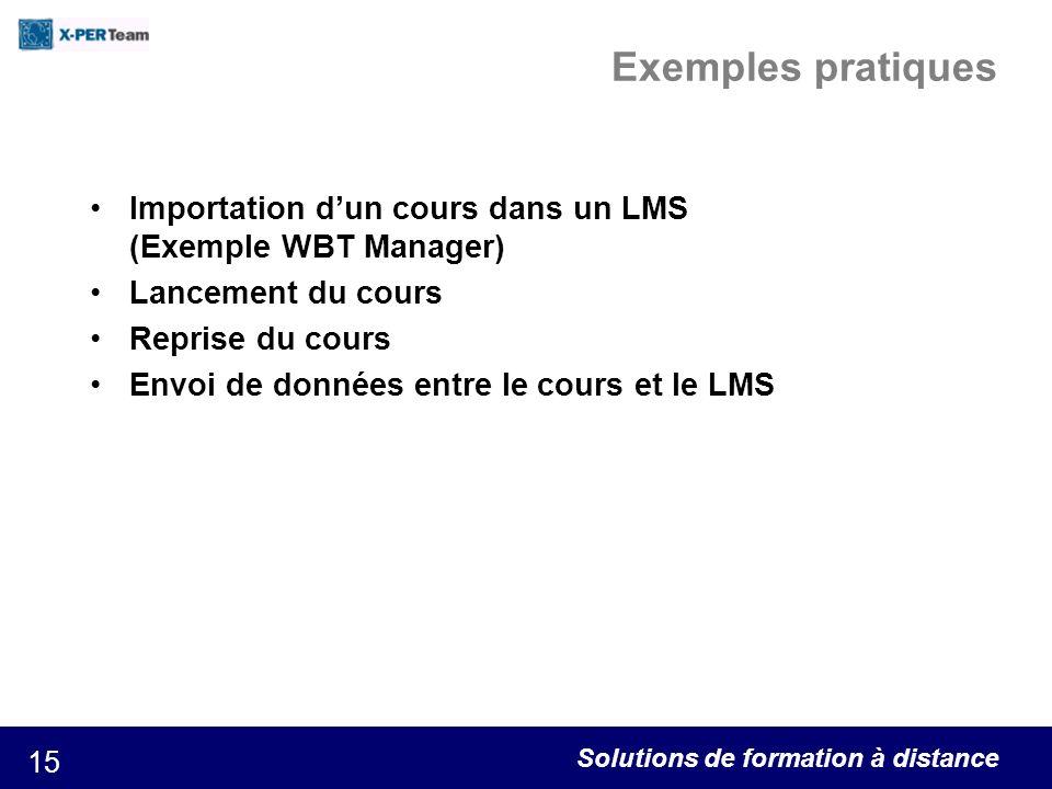 Solutions de formation à distance 15 Exemples pratiques Importation dun cours dans un LMS (Exemple WBT Manager) Lancement du cours Reprise du cours En