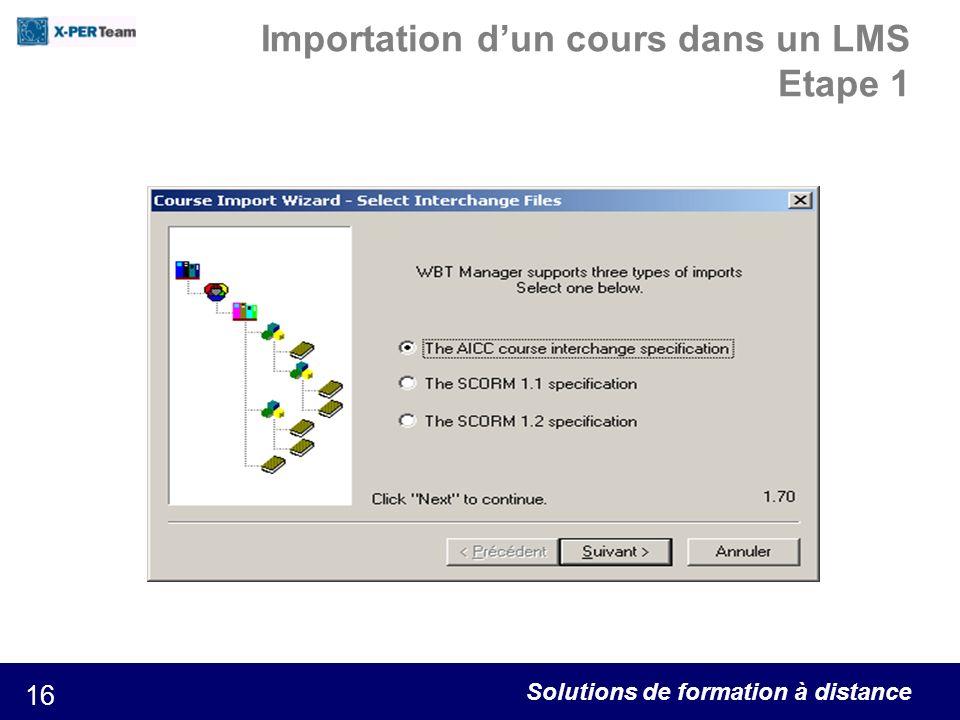 Solutions de formation à distance 16 Importation dun cours dans un LMS Etape 1