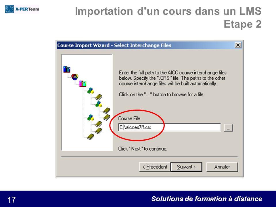 Solutions de formation à distance 17 Importation dun cours dans un LMS Etape 2