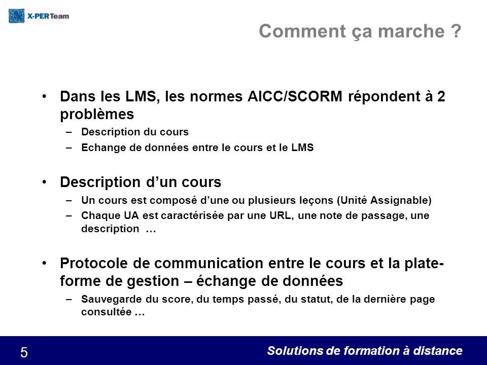 Solutions de formation à distance 5 Comment ça marche ? Dans les LMS, les normes AICC/SCORM répondent à 2 problèmes –Description du cours –Echange de