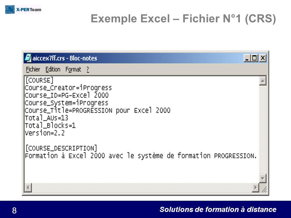 Solutions de formation à distance 8 Exemple Excel – Fichier N°1 (CRS)
