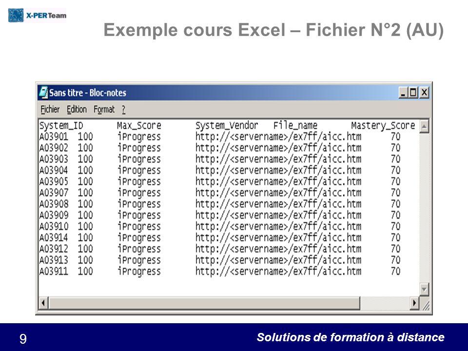 Solutions de formation à distance 10 Exemple cours Excel – Fichier N°3 (DES)