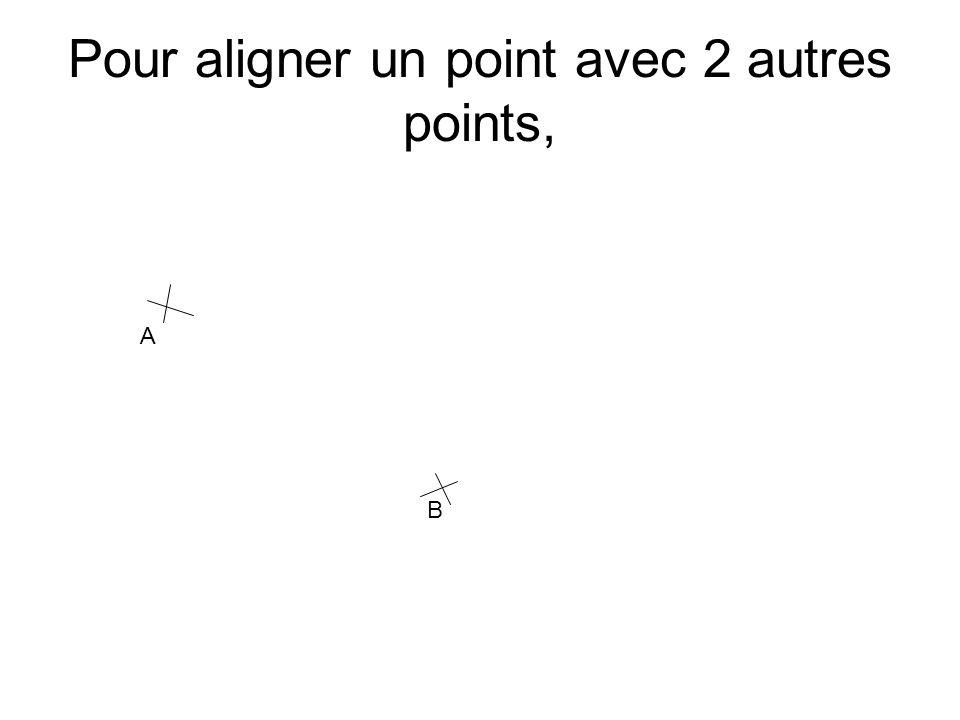 Pour aligner un point avec 2 autres points, A B