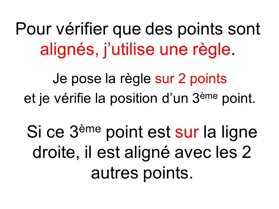 Pour vérifier que des points sont alignés, jutilise une règle. Je pose la règle sur 2 points et je vérifie la position dun 3 ème point. Si ce 3 ème po