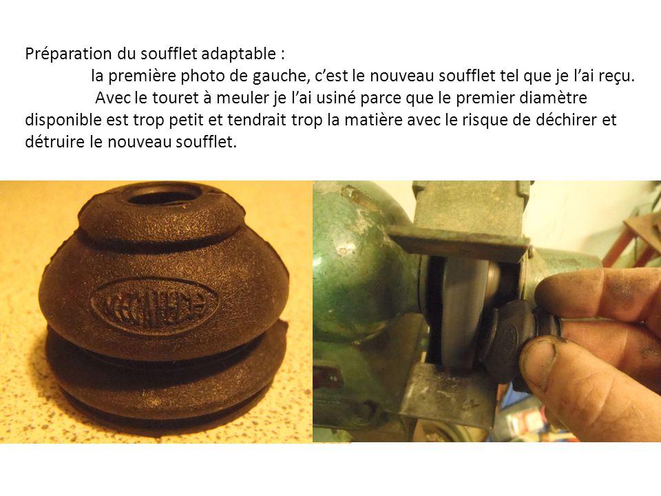Préparation du soufflet adaptable : la première photo de gauche, cest le nouveau soufflet tel que je lai reçu. Avec le touret à meuler je lai usiné pa