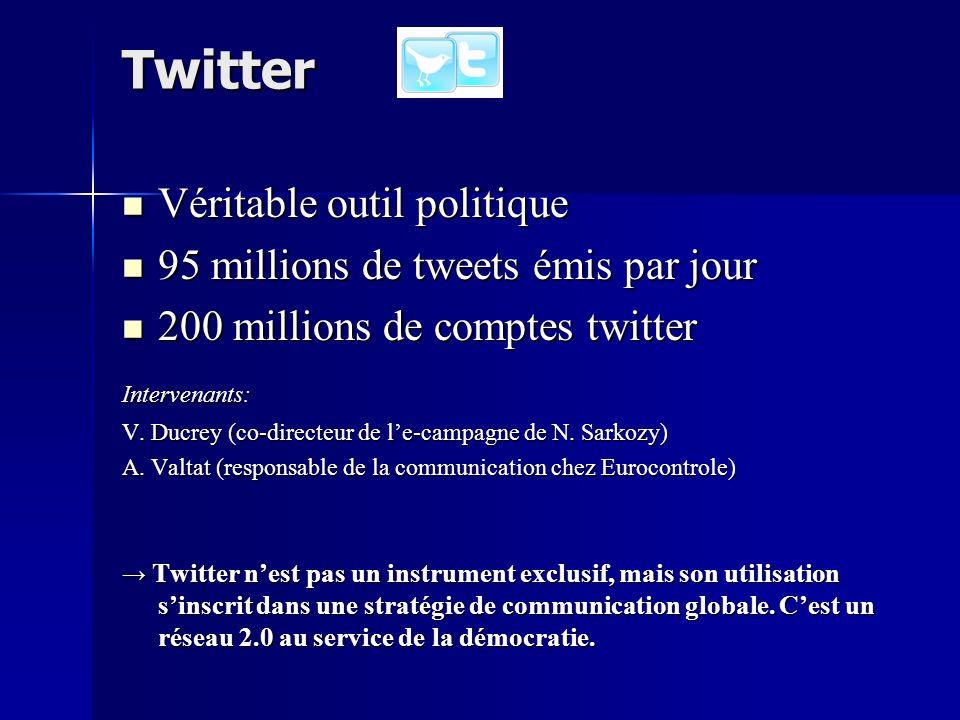 Twitter Véritable outil politique Véritable outil politique 95 millions de tweets émis par jour 95 millions de tweets émis par jour 200 millions de comptes twitter 200 millions de comptes twitterIntervenants: V.