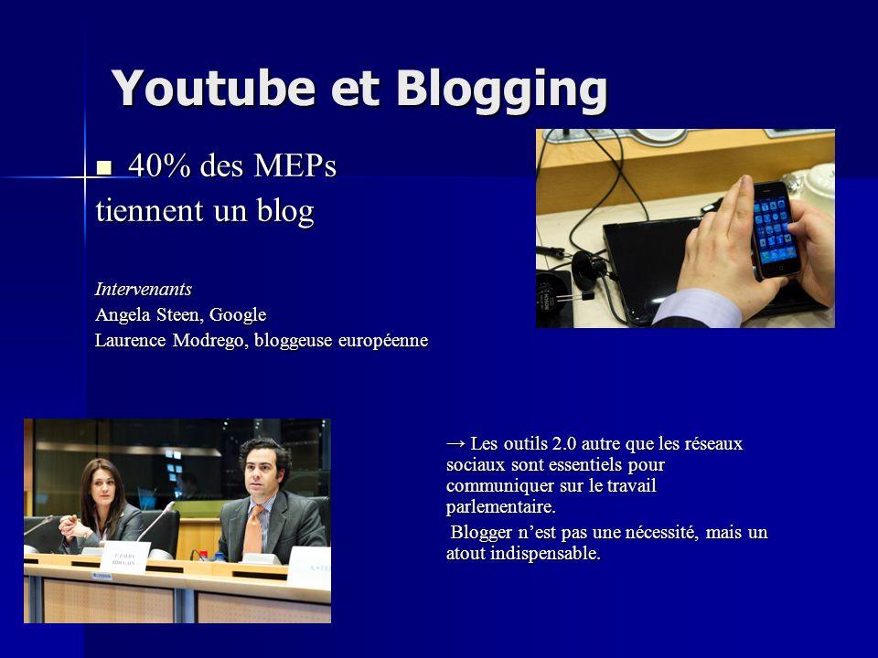 Youtube et Blogging 40% des MEPs 40% des MEPs tiennent un blog Intervenants Angela Steen, Google Laurence Modrego, bloggeuse européenne Les outils 2.0 autre que les réseaux sociaux sont essentiels pour communiquer sur le travail parlementaire.