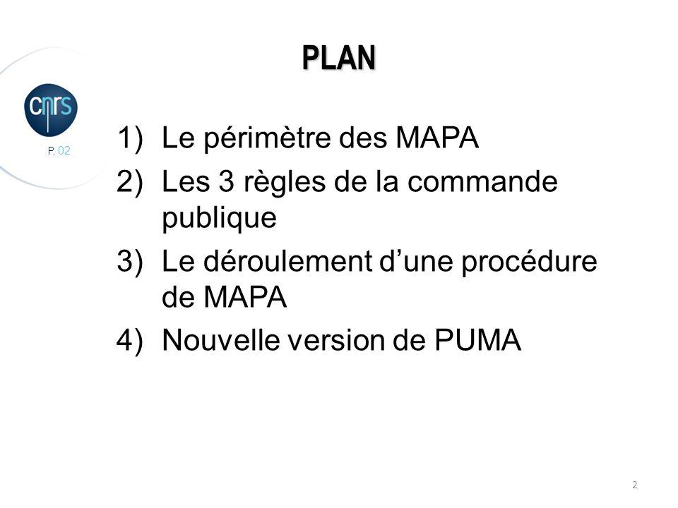 P. 02 2 PLAN 1)Le périmètre des MAPA 2)Les 3 règles de la commande publique 3)Le déroulement dune procédure de MAPA 4)Nouvelle version de PUMA