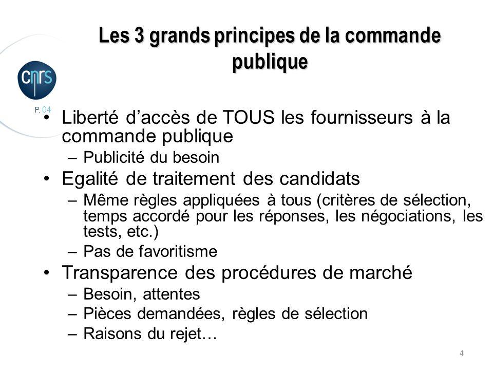 P. 04 4 Les 3 grands principes de la commande publique Liberté daccès de TOUS les fournisseurs à la commande publique –Publicité du besoin Egalité de