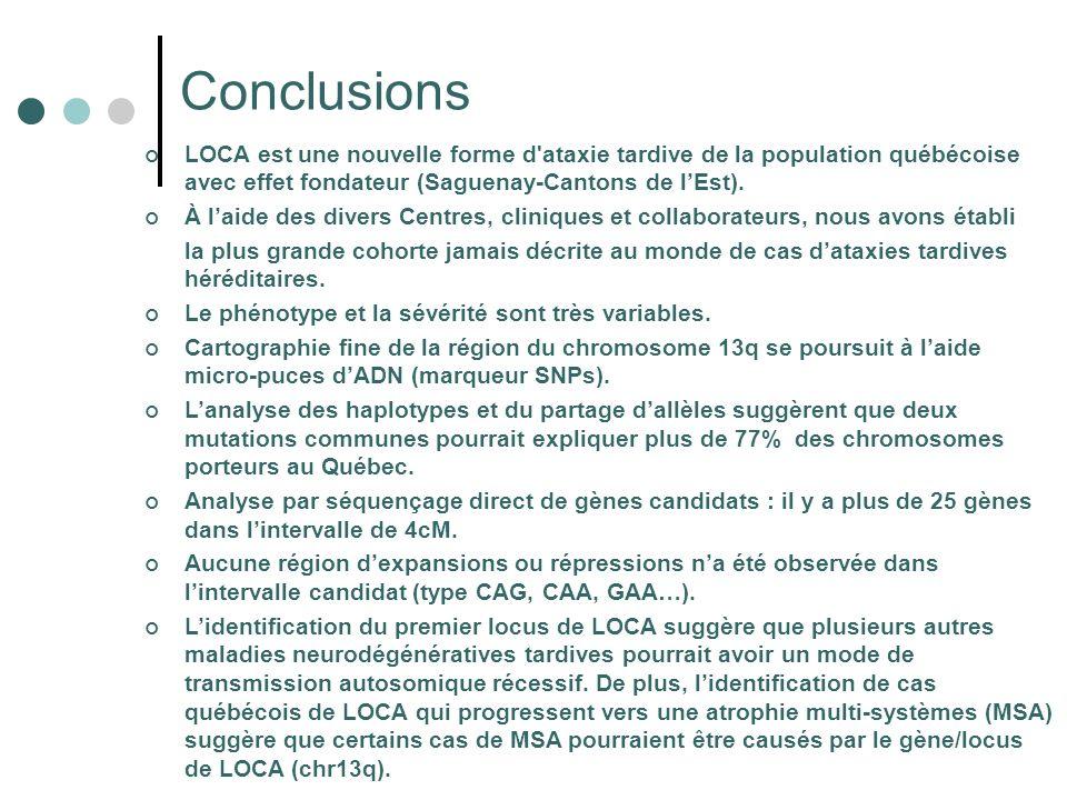 Conclusions LOCA est une nouvelle forme d ataxie tardive de la population québécoise avec effet fondateur (Saguenay-Cantons de lEst).