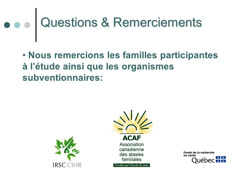 Questions & Remerciements Nous remercions les familles participantes à létude ainsi que les organismes subventionnaires: