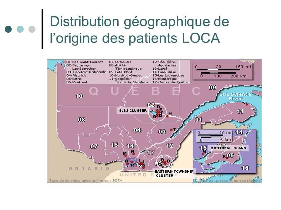Distribution géographique de lorigine des patients LOCA