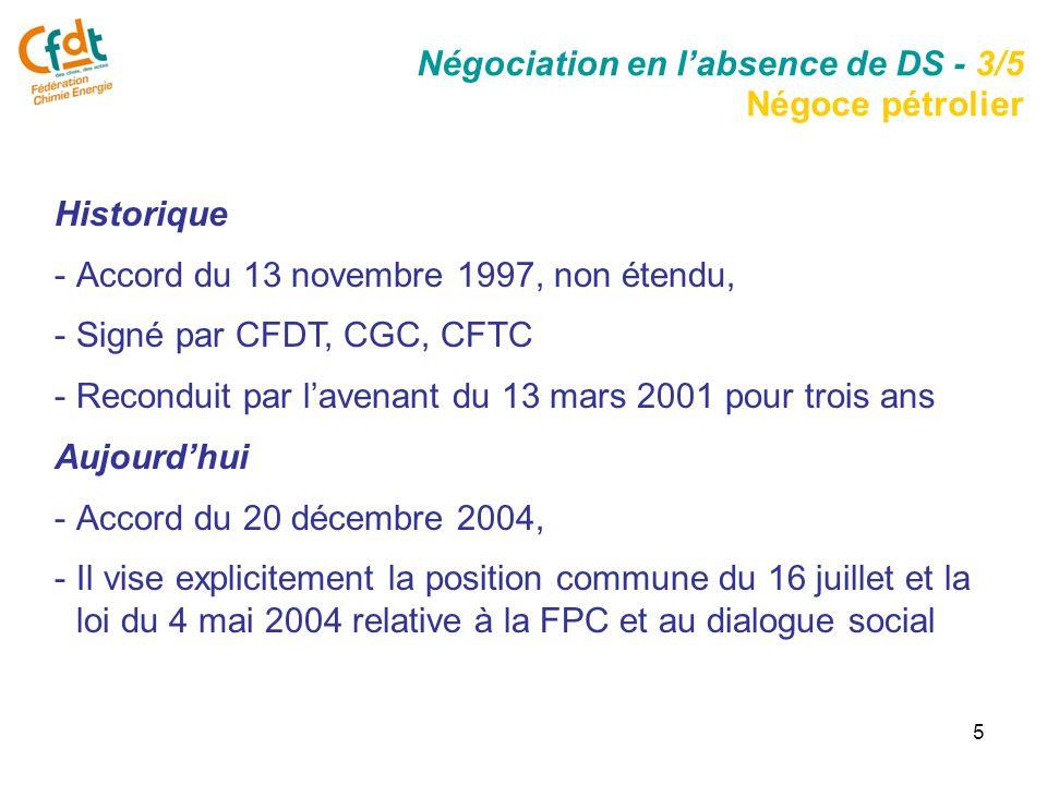 5 Historique -Accord du 13 novembre 1997, non étendu, -Signé par CFDT, CGC, CFTC -Reconduit par lavenant du 13 mars 2001 pour trois ans Aujourdhui -Accord du 20 décembre 2004, -Il vise explicitement la position commune du 16 juillet et la loi du 4 mai 2004 relative à la FPC et au dialogue social Négociation en labsence de DS - 3/5 Négoce pétrolier