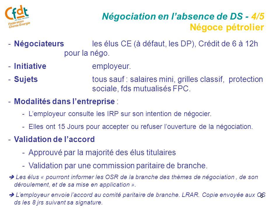 6 -Négociateurs les élus CE (à défaut, les DP), Crédit de 6 à 12h pour la négo.